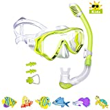 Kids Snorkel Set-Powsure Dry Top Seaview Snorkel Mask for Children, Boys, Girls,Youth, Big Eyes Anti-Fog Coated Glass Snorkeling Mask, Easybreath with Silicon Mouth Piece for Swimming, Diving (Yellow)