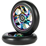Kutrick Complete 2pcs 110mm Pro Stunt Scooter Replacement Wheels with ABEC-11 Bearing -Neo Chrome