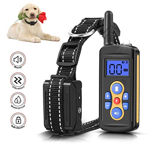 Mailink Remote Dog Training Collar Rechargeable waterproof IPX6 1000ft Remote Range with Beep/Vibration/Shock, 0~99 Shock Levels Dog Training Training Collar for Small Medium Large Dogs with LED Light 1