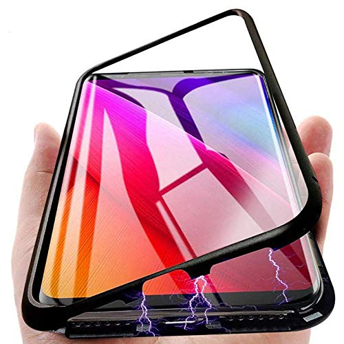 Soezit Magnetic Metal Bumper Cover with Back Side Tempered Glass Case Cover for Vivo V15 Pro 8