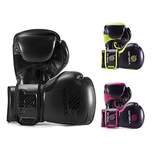 Sanabul Essential Gel Boxing Kickboxing Training Gloves (AllBlack, 8 oz)
