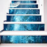 """ChezMax 3D Scenery Pattern Stair Risers Stickers Set Staircase Decals Removable Waterproof Mural Wallpaper for Home Decoration 7.1""""x 39.4"""" Blue Night Sky 6 Pcs"""