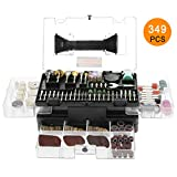 """Rotary Tool Accessories Kit, Meterk 349pcs Grinding Polishing Drilling Kits, 1/8"""" Shank Electric Grinder Universal Fitment for Easy Cutting Grinding Sanding Sharpening Carving Polishing (349pcs)"""