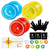 MAGICYOYO Pack of 3 Responsive YoYos K1-Plus Each with Yoyo Glove, Yoyo Bag, 3 Strings, in A Gift Box