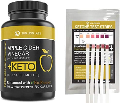 Apple Cider Vinegar Capsules with Mother + Keto Diet Pills, BHB Salts with MCT Oil, Includes 100 Ketone Test Strips, Exogenous Ketones for Instant Keto, Use Fat for Energy, Boost Metabolism Men, Women 3