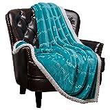 Chanasya Warm Hugs Positive Energy Healing Thoughts Super Soft Fleece Sherpa Microfiber Comfort Caring Teal Blue Gift Throw Blanket - Get Well Soon Gift for Women Men Cancer Patient - Teal Blanket