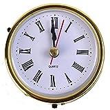 ASGV 2 1/2 (65mm) Quartz Clock FIT UP/Insert, Gold Trim, Roman Numeral, White Face