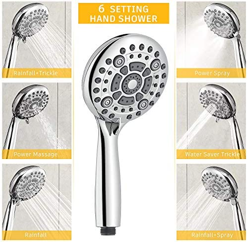 SunCleanse Shower System-Rainfall Shower Faucet Set with 6-Settings Handheld Shower and High Pressure Shower Head, Contain Rough in Valve and Trim Kit, Polished Chrome 14