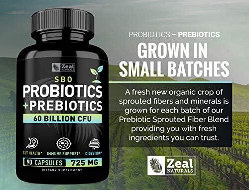 Probiotics and Prebiotics + SBO Probiotics (60 Billion CFU   90 Capsules) Acidophilus Probiotic w. Saccharomyces Boulardii, Bifidobacterium + Spore Probiotic & Organic Sprouted Prebiotic Fiber Blend 5