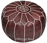 Product review for Moroccan Buzz 18-Pound Premium Stuffed Leather Pouf Ottoman, Brown