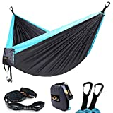 AnorTrek Camping Hammock, Lightweight Portable Single & Double Hammock with Tree Straps [10 FT/18+1 Loops], Parachute Hammock for Camping, Hiking, Garden, Yard (Grey&Blue, Single 55''W x 112''L)