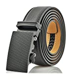 Marino Men's Genuine Leather Ratchet Dress Belt With Automatic Buckle, Enclosed in an Elegant Gift Box - Black - Fits waist sizes up to 44'