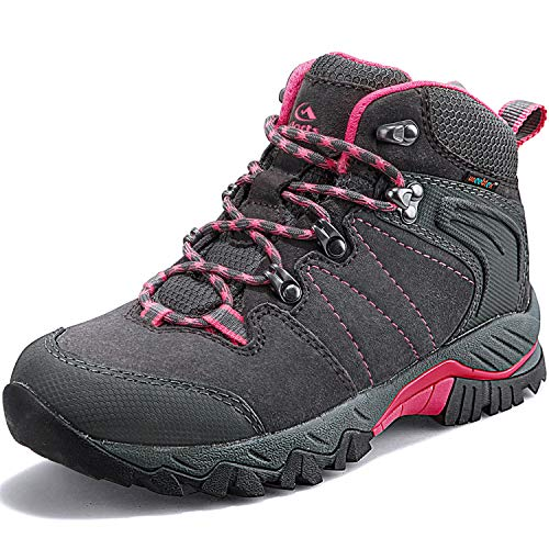 Clorts Women's Classic Hiking Boots Waterproof Suede Leather Lightweight Hiking Shoes Grey/Pink US Women Size 8.5 Medium Width
