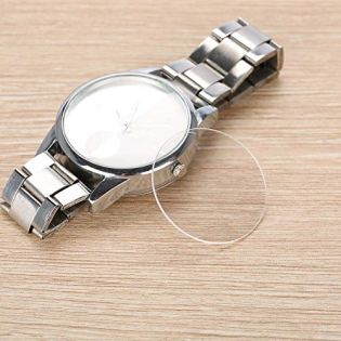 Watch Glass 1 Pair 1.0mm Thickness Transparent Round Flat Sapphire Watch Crystal Glass Replacement for Watchmakers 25/26.5/34.5/37.5/39mm(25mm)