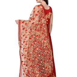 DUPATTA BAZAAR Women's Embroidered Net Dupatta