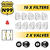 Pack of 10 Activated Carbon N99 Filters AND 2 Air Valves for FIGHTECH Dust Masks (SIZE REG)