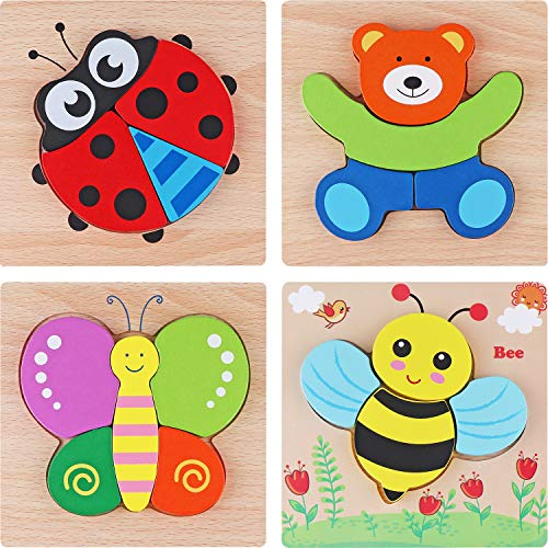 Tinabless Wooden Animal Jigsaw Puzzles, Wooden Shapes Puzzles for Toddlers 1 2 3 Years Old, Boys & Girls Educational Toys Gift with 4 Animals Patterns, Bright Vibrant Color Shapes