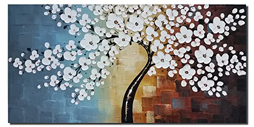 Com Wieco Art Blooming Life 100 Hand Painted Oil Painting Stretched And Framed Modern Canvas Wall For Home Decor Fl Paintings On