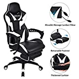 ELECWISH Massage Computer Gaming Chair Reclining Ergonomic Racing Office Chair with Footrest High Back PU Leather Gaming Desk Chair Large Size E-Sport Chair with Headrest and Lumba Support (White)