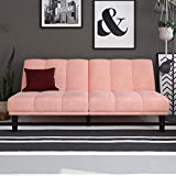 Mainstay Channel Cushion Futon, Multiple Colors, Pink