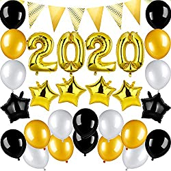 New Years Eve Party Supplies 2020 Decorations Kit, 2020 Balloons Star Foil Balloon Banner Gold Black White Latex Balloon, Gift for New Year House Decor Backdrop