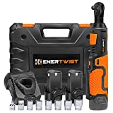 """Enertwist 12V Cordless 3/8"""" Electric Ratchet Wrench Set - 35 ft-Lbs 400 RPM Power Ratchet Tool w/Variable Speed Trigger, Includes 2 2.0Ah Lithium-Ion Batteries and Fast Charger, ET-RW-12"""