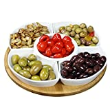 "Elama Signature EL-188B 6 Piece Lazy Susan Appetizer and Condiment Server Set with 5 Serving Dishes and a Bamboo Lazy Suzan Serving Tray, 12.5"" L"