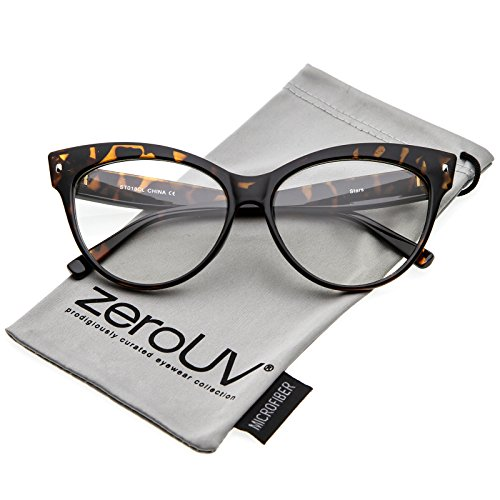 zeroUV - Women's Oversize Wide Arms Clear Lens Cat Eye Eyeglasses 58mm (Tortoise/Clear)