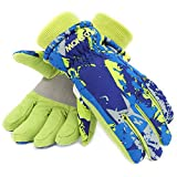 Ski Gloves,RunRRIn Winter Warmest Waterproof and Breathable Snow Gloves for Mens,Womens,ladies and Kids Skiing,Snowboarding(Kids Blue-Orange-XS)