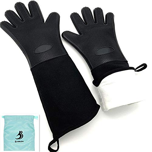 DAMUZHI Extra Long Silicone 1 Pair,Kitchen Gloves Heat Resistant,Cooking,Baking,Grilling,Oven Mitts Heavy Duty,Black (19.7')
