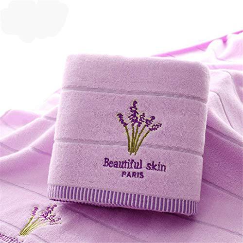 Alexlove Purple Lavender Embroidered Towels Cotton Large Bath Towel Soft Absorbent Beach Face Towel Set for Women Purple 1pc 70x140 1pc 34x75