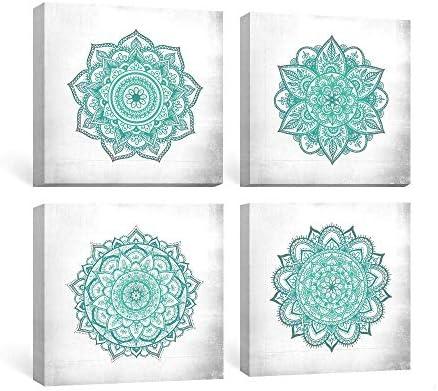SUMGAR Blue Wall Art Bedroom Boho Decor Mandala Canvas Paintings Teal Flowers Framed Pictures Bathroom Aqua Floral Prints Indian Bohemian Artwork Yoga Spa Home Decorations Geometric 4 Piece,12×12 in