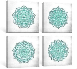 SUMGAR Blue Wall Art Bedroom Boho Decor Mandala Canvas Paintings Teal Flowers Framed Pictures Bathroom Aqua Floral Prints Indian Bohemian Artwork Yoga Spa Home Decorations Geometric 4 Piece,12×12 in
