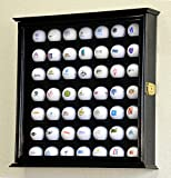 49 Golf Ball Display Case Cabinet Wall Rack Holder w/98% UV Protection Lockable -Black