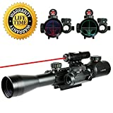 UUQ 3-9x40mm Tactical Illuminated Rifle Scope Range Finder Reticle W/Green(RED) Laser and Red Dot Sight 3-9X32 W/Green Laser
