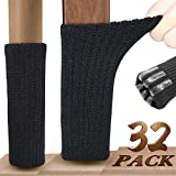 Furniture Socks, Ravmix 32PCS Knitted Elastic Non-Slip Rubber Strips Inside Chair Leg Socks Hardwood Floor Protectors, Fit Square Round Oval Feet with Girth from 2.7 to 7 inches, Black