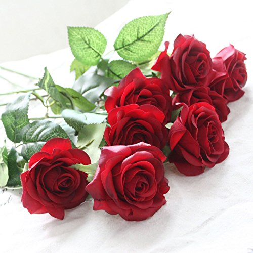 idealgo 10pcs head real touch latex rose flowers rose flower bouquet