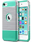 ULAK Case for iPod Touch 5 & 6, iPod Touch 7 Case,Slim Fit Dual Layer Hybrid Protective Case Hard Cover for Apple iPod Touch 5/6/7th Generation (Minimal Mint Stripes)