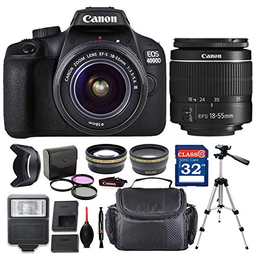 Canon EOS 4000D DSLR Camera with EF-S 18-55mm f / 3.5-5.6 III Lens + Deluxe Accessory Bundle