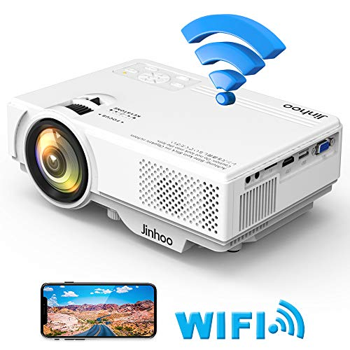 WiFi Mini Projector, 2019 Newest 1080P Supported, 2600 Lumens HD Video Projector with 176'' Projector Size, 50000 Hours Lamp Lifetime, Compatible with TV Stick, HDMI, USB for Home Theater, Movie and M