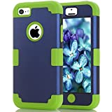 iPhone 5c case, (TPU+ Silicone) Anti-slip Shockproof Dustproof slim and stylish protective case for iPhone5c (Navy blue+Lime green)