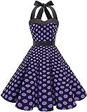 DRESSTELLS 50s Retro Halter Rockabilly Polka Dots Audrey Dress Cocktail Dress Black Purple Dot L
