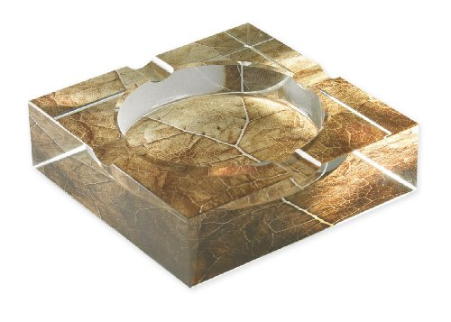 Tobacco Leaf Print Crystal Cigar Ashtray