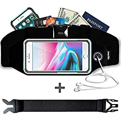 Fanny Pack, Running Belt, Waist Bag for Women & Men for iPhone Xs Max, XR, XS/X, 8/7/6s Plus, 8/7/6/SE, Samsung Galaxy S10/S9/S8 Plus/Note, Moto, with Their Cases on. Gym Workout Fitness Gear-Black