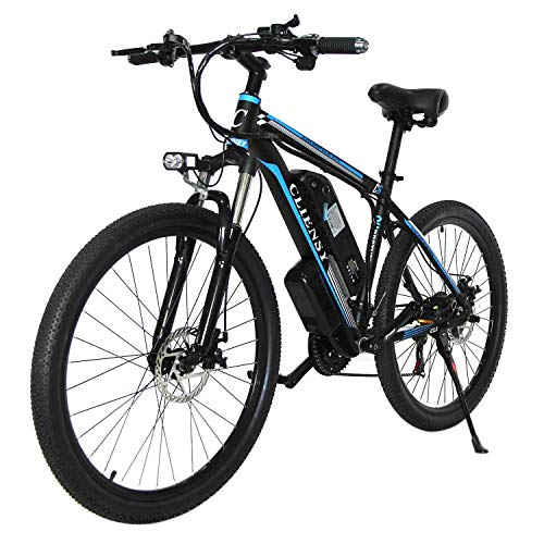 """CLIENSY 26"""" Electric Mountain Bike, 350W Ebike with Removable 36V 10AH Lithium Battery for Adults, 21 Speed Shifter (Blue)"""