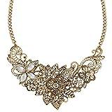 Ever Faith Crystal Vintage Inspired Lace Fleur-de-lis Flower Filigree Necklace Antiqued Gold-Tone Clear N02798-1