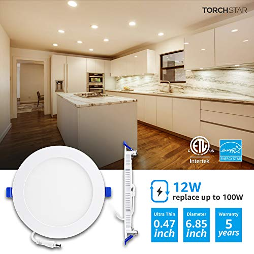 TORCHSTAR-Basic-Series-12-Pack-12W-Recessed-Lights-6-Inch-with-Junction-Box-Dimmable-Ultra-Thin-LED-Downlight-100W-Eqv-ETL-Energy-Star-Listed-3000K-Warm-White-5-Years-Warranty