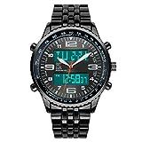 VIGOROSO Men's LED Digital Analog Sport Amry Fashion Steel Multifunction Black Watch
