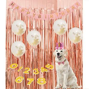 PAWCHIE Dog Birthday Party Supplies - Reusable Dog Birthday Hat (with 0-8 Figures), Bling Bowtie, Biodegradable Latex Balloons, Happy Birthday Letter Banner and Rose Gold Curtain 1