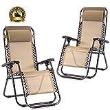 New Zero Gravity Chairs Case of 2 Lounge Patio Chairs Outdoor Yard Beach